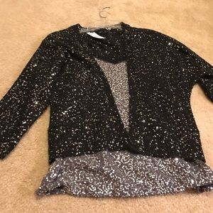 Express Black/Silver Sequin Sweater - brand new